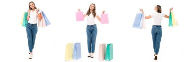Collage of excited woman holding shopping bags and walking isolated on white stock vector