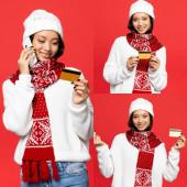 koláž asijské ženy mluví na smartphone a držení kreditní karty, zatímco ukazuje peníze gesto izolované na červené