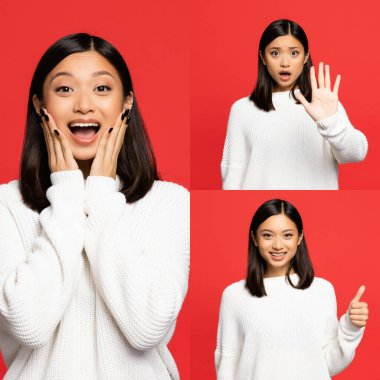 Collage of cheerful asian woman pointing with finger, touching cheeks and showing no gesture isolated on red stock vector