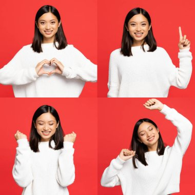 Collage of happy asian woman showing heart sign with hands, pointing with finger, rejoicing and smiling isolated on red stock vector