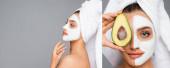 boční pohled na ženu s ručníkem na hlavě a hliněnou maskou na obličeji drží avokádo izolované na šedé, koláž