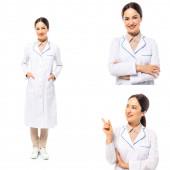 Collage eines lächelnden Arztes, der mit dem Finger auf Weiß zeigt