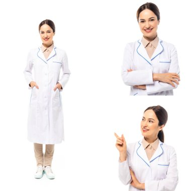 Collage of smiling doctor pointing with finger isolated on white stock vector