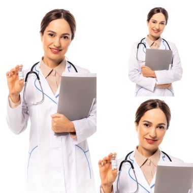 Collage of smiling doctor holding vaccine and paper folder isolated on white stock vector