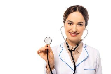 Doctor with stethoscope looking at camera isolated on white stock vector