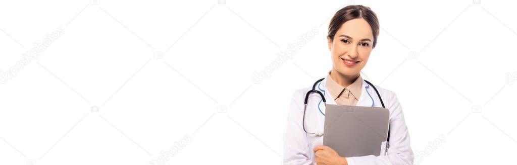 Website header of smiling doctor holding paper folder isolated on white stock vector