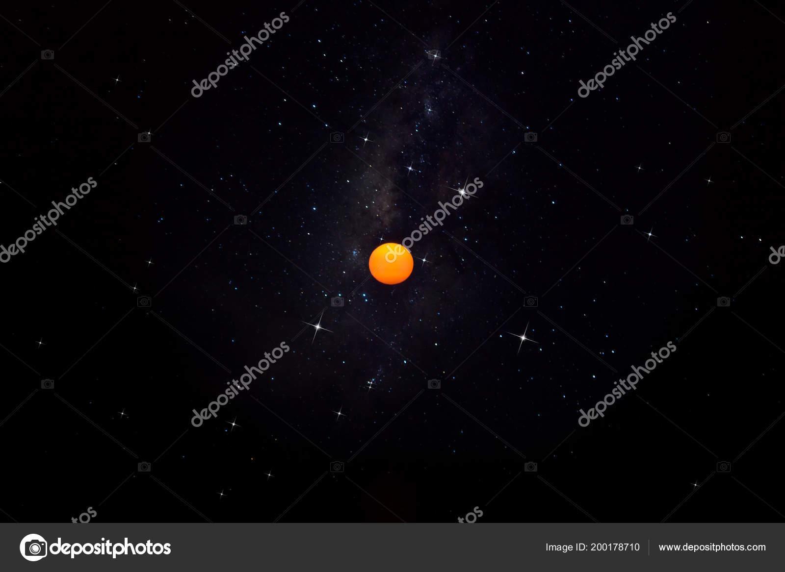 Orange Sun Milky Way Star Dark Sky — Stock Photo © Noppharat_th