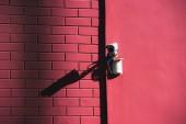 pohled z bezpečnostní kamery na fasádě růžové budovy ve slunečním světle na plochu