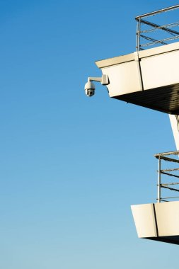 close up view of security camera on building facade with clear blue sky