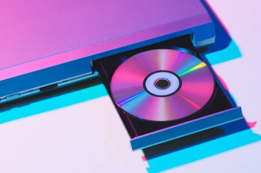 close up view of dvd player with disk