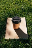 Fotografie close up view of coffee to go and notebook on green grass