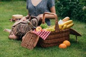 Fotografie oříznutý obraz ženy sedí na zelené trávě na piknik a drží deku