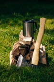 Fotografia thermos bottle on pile of firewood on green grass in park