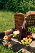 Photo flipped over basket with fruits and bottle of champagne on blanket in park
