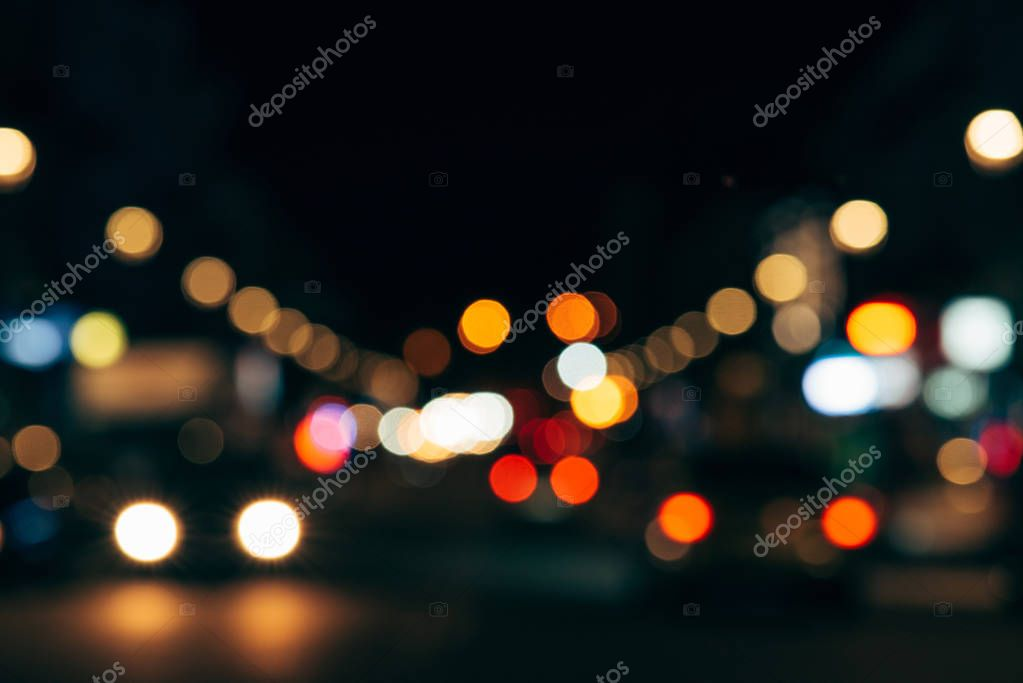 Фотообои colorful bokeh lights of night city as background
