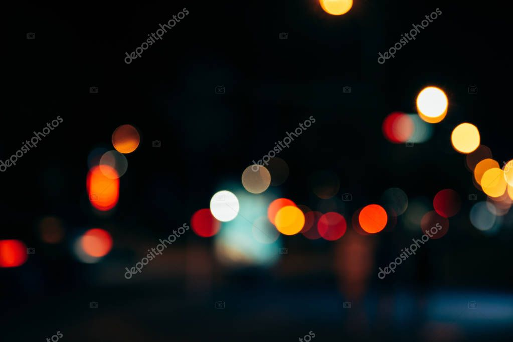 Фотообои night city lights in bokeh style background