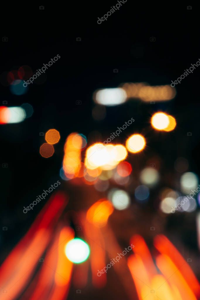 Фотообои night city lights in bokeh style background