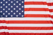 Photo top view of folded american flag background