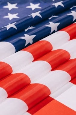 Close up view of folded american flag background stock vector