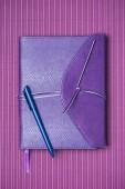 Fotografie pohled shora modré pero a Poznámkový blok na fialovém pozadí