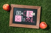 Fotografie top view of fresh apples and blackboard with back to school lettering made of pink and white objects on green lawn