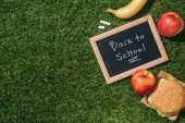 flat lay with blackboard with back to school lettering, pieces of chalk, banana, apples and burger on green grass
