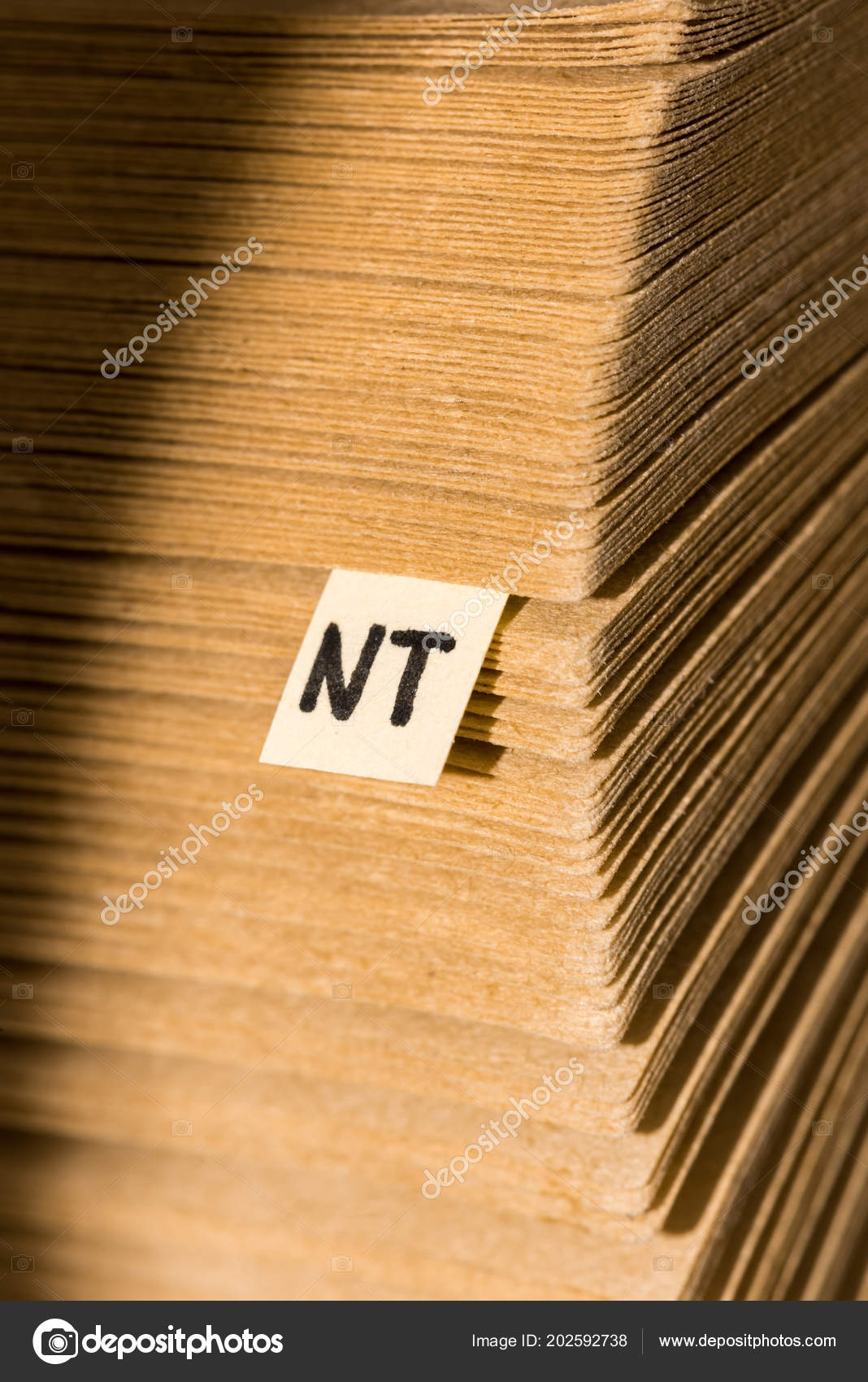 Close View Stack Cardboard Papers Note Lettering Stock Photo