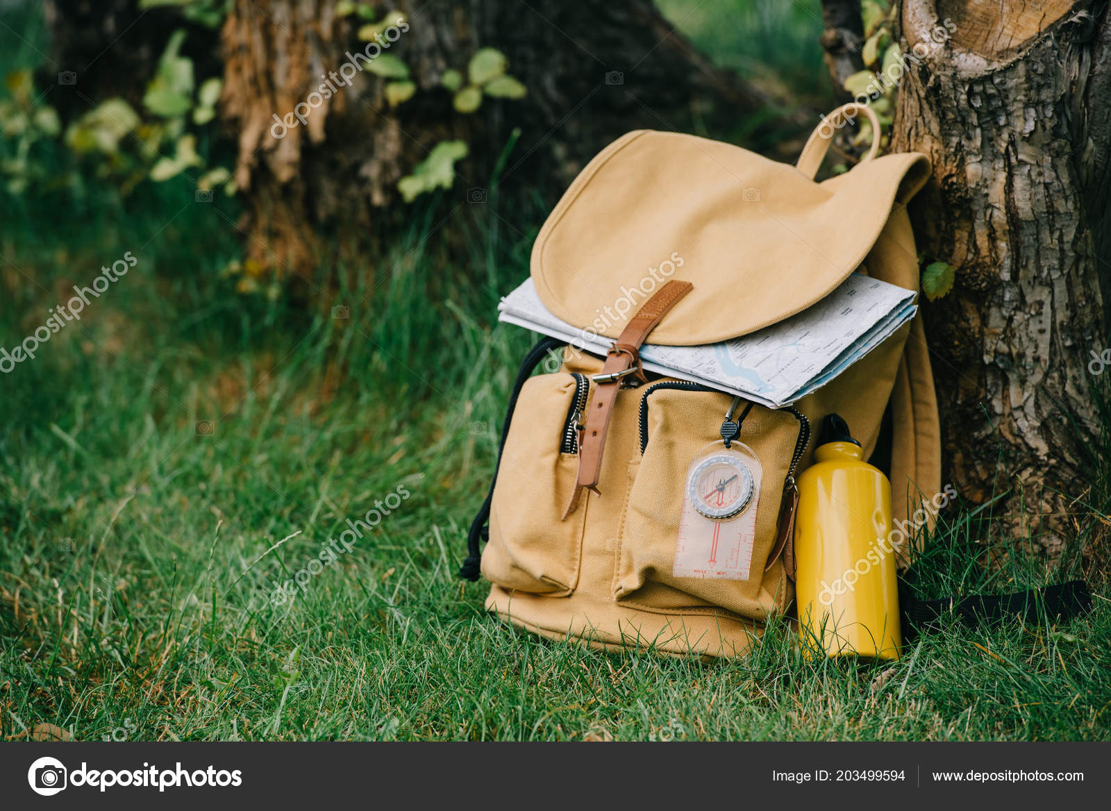 b03b18695c Close View Backpack Compass Map Green Grass — Stock Photo ...