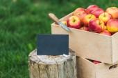 Fotografia mele fresche raccolte in scatole con la scheda vuota in vendita