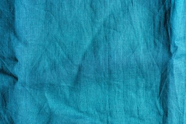 full frame image of blue linen fabric background