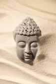 felülnézet buddha szobor, a homokos strand