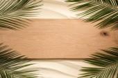 Fotografie pohled shora z palmového listí a dřevěné prkno na písčitém povrchu