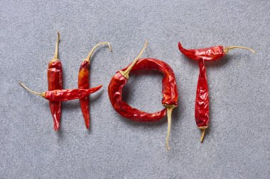 top view of chili peppers arranged in hot lettering on grey tabletop