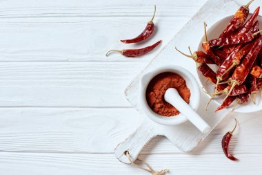 flat lay with grinded chili pepper in mortar with pestle on cutting board on white wooden surface