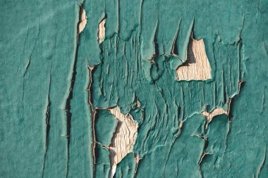 close up of turquoise wooden fence with cracks and old paint