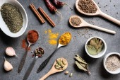 Fotografie top view of various aromatic dried spices in bowls and spoons on grey surface