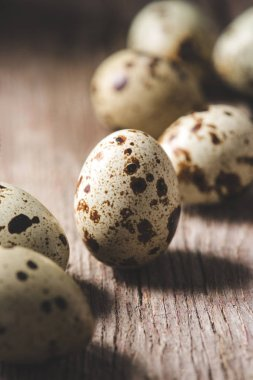 close-up view of fresh organic quail eggs on wooden table