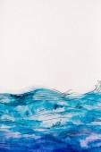 tenger hullámai által fehér alapon kék akvarell festék