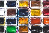 Fotografie full frame image of colorful watercolor paints background