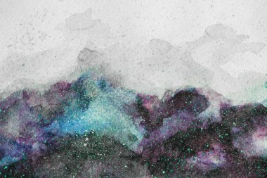 Universe painting with purple and green watercolor paints on white background stock vector