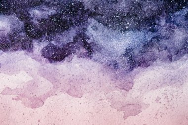full frame image of night sky painting with purple and pink watercolor paints background