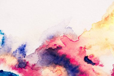 abstract painting with red, yellow and blue watercolor paints on white background