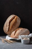 close up view of loafs of ciabatta and wheat on black background