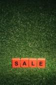 červená Abeceda bloky s prodejem podepsat pro černý pátek na zelené trávě