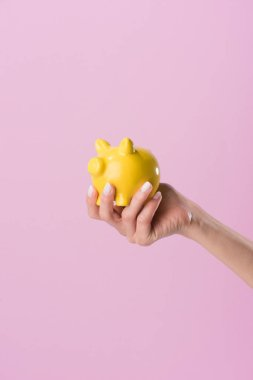 cropped shot of woman holding yellow piggy bank isolated on pink