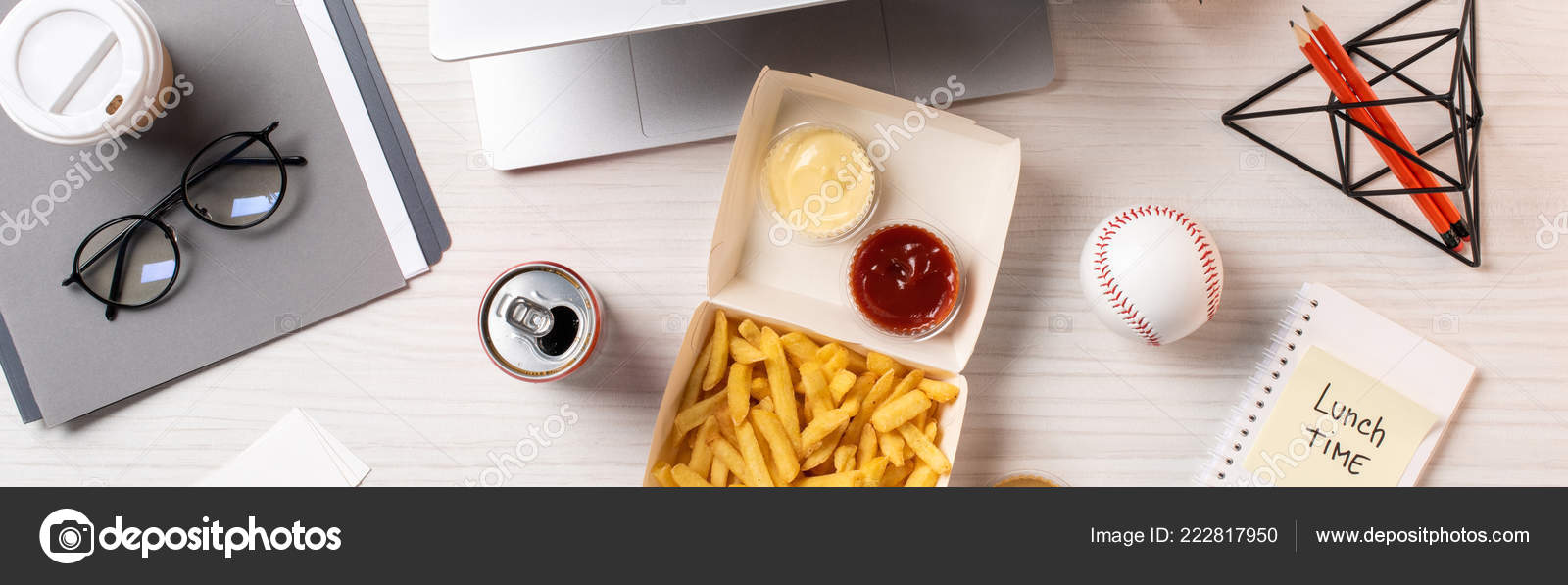 Attirant Top View French Fries Soda Can Baseball Ball Office Supplies U2014 Stock Photo