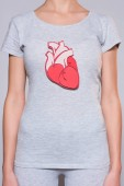 partial view of woman with paper crafted heart on tshirt on grey backgroun