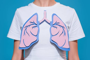 partial view of woman in white tshirt with paper crafted lungs on blue backdrop