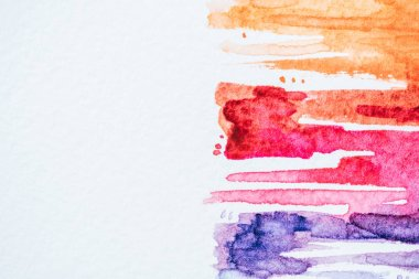 Abstract background with colorful watercolor strokes on white paper stock vector