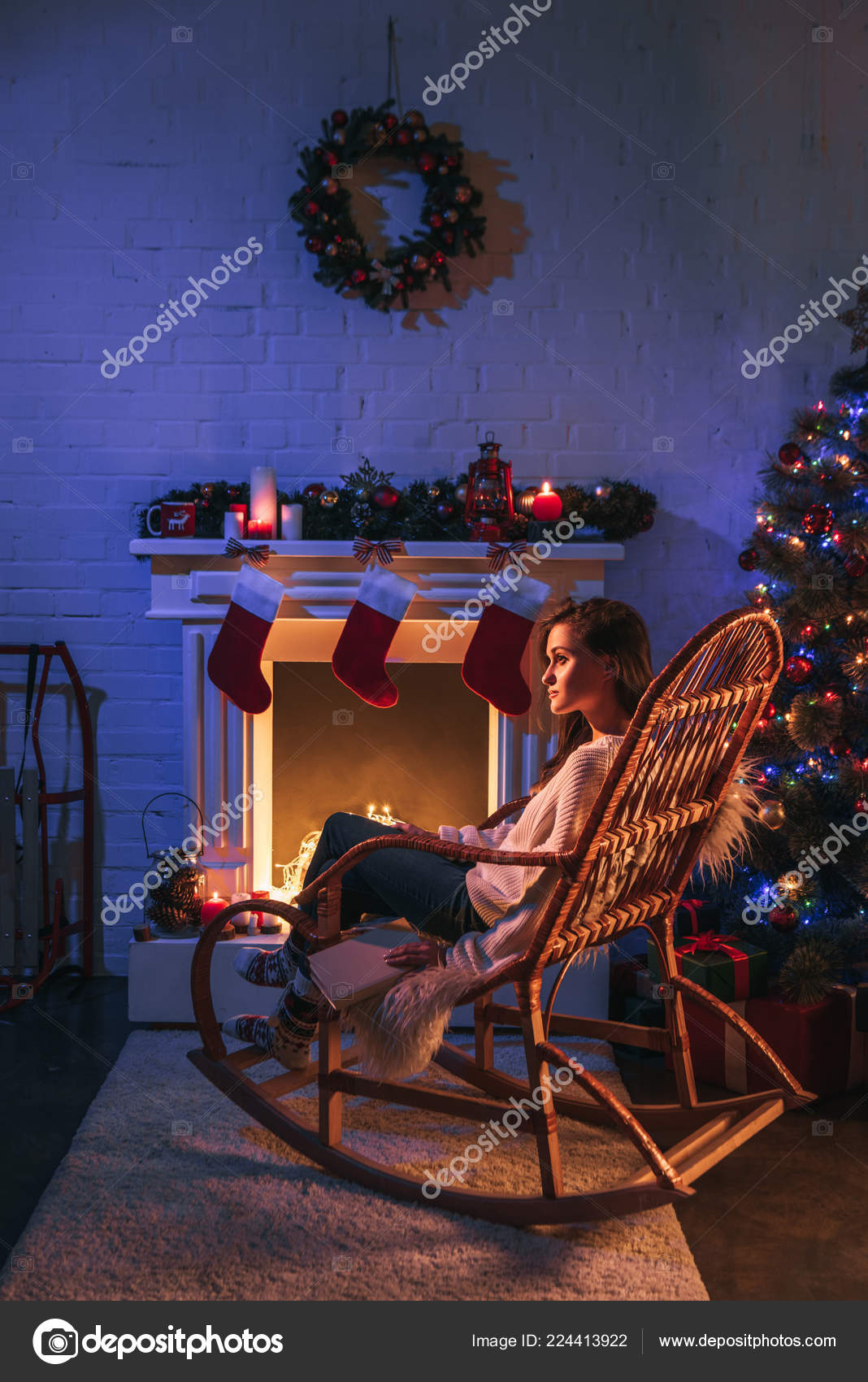 Pleasant Happy Woman Sitting Rocking Chair Decorated Fireplace Machost Co Dining Chair Design Ideas Machostcouk